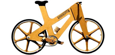 Fully recyclable, the bike made out of cardboard