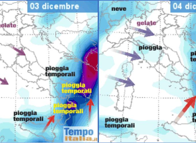 E' la volta del Sud. Ora il maltempo si porta sulle regioni Meridionali, poi torneranno i venti da sudovest e le piogge nel Tirreno.
