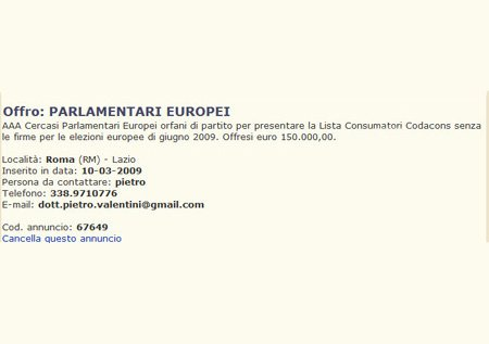 """Cercasi Parlamentari Europei per presentare la Lista Consumatori-Codacons senza firme. Offresi euro 150.000"""