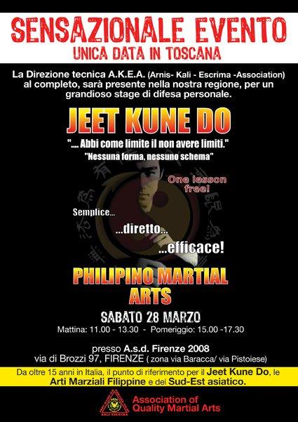 Firenze: Seminario Regionale aperto al pubblico di Jeet-Kune-Do, Arnis-Kali-Escrima, Self Defence