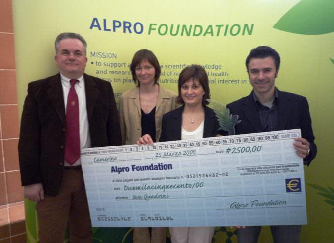 Alpro Foundation premia la ricercatrice Unicam Sara Quadrini per uno studio sugli alimenti