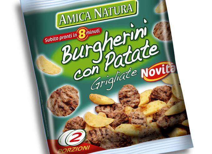 """Amica Natura rinnova i """"Burgherini con patate grigliate"""": nel gusto, deciso e aromatizzato, e nel packaging"""