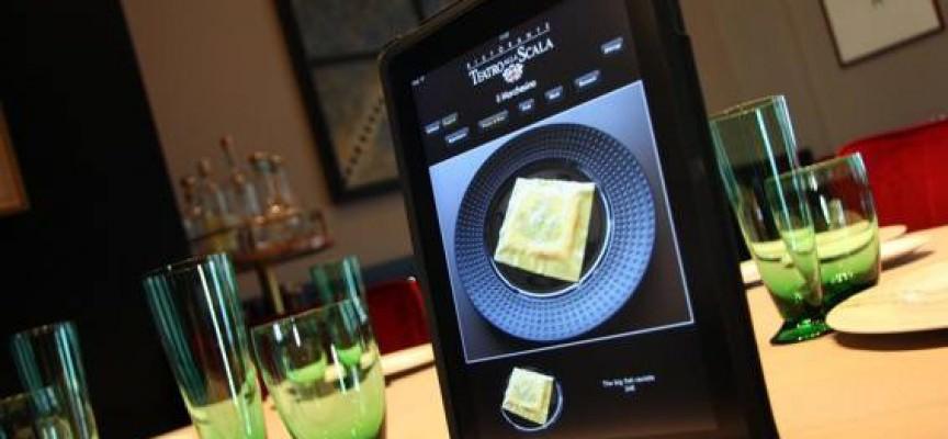 Foto dell'iPad al ristorante di Marchesi del menu per le intolleranze