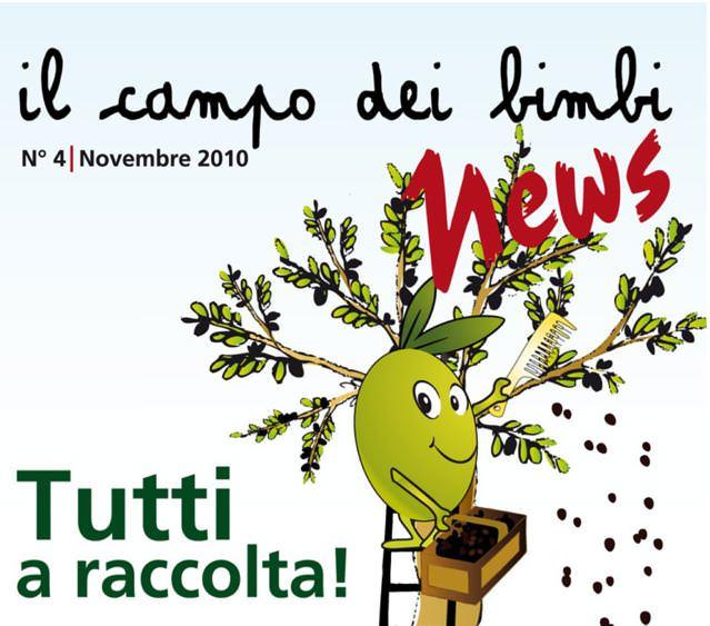 La raccolta delle olive dei bambini con mamme, papà e nonni