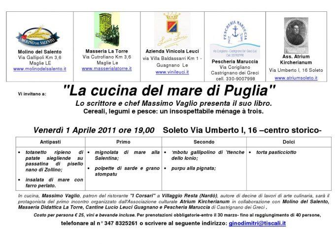 """Lo chef e scrittore Massimo Vagli presenta al pubblico il suo libro """"La cucina del mare di Puglia"""""""