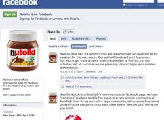 E-business, Nutella è la regina italiana di Facebook