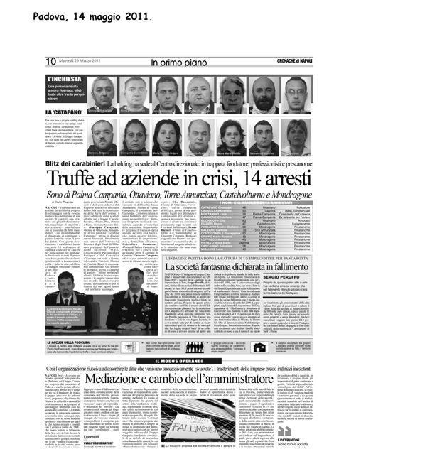 Il Gruppo Catapano resta in galera: la sentenza definitiva del Tribunale di Padova
