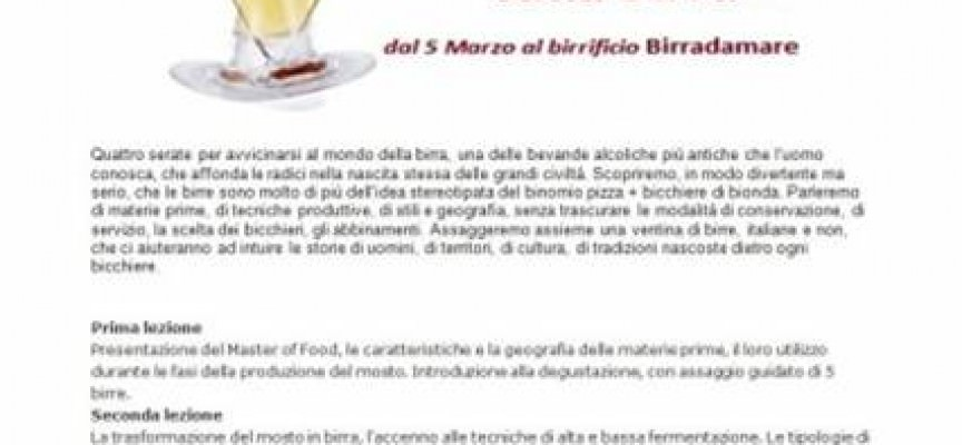 Birra: il 5 marzo arriva il Master of Food al birrificio Birradamare