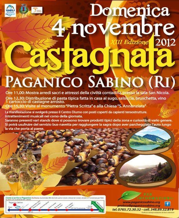 Sagre, novembre a Paganico Sabino con le castagne