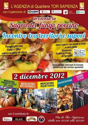Roma, il 2 dicembre con la Sagra del Fungo Porcino