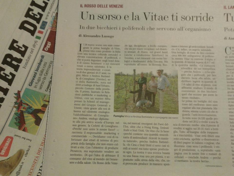 """Battistella: """"VITAE viene dalla terra, e' un vino fatto con passione"""""""
