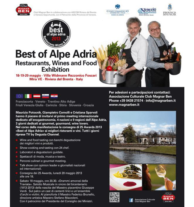 18/19/20 maggio: BEST OF ALPE ADRIA, Restaurants, Wines & Food Exibition