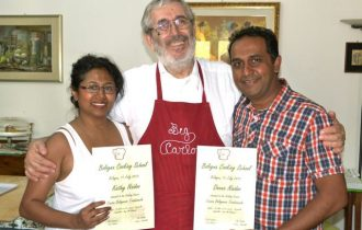 Deena Naidoo, the winner of MasterChef 2012 South Africa, is awarded by a Master of Cooking in Bologna by Big Carlo