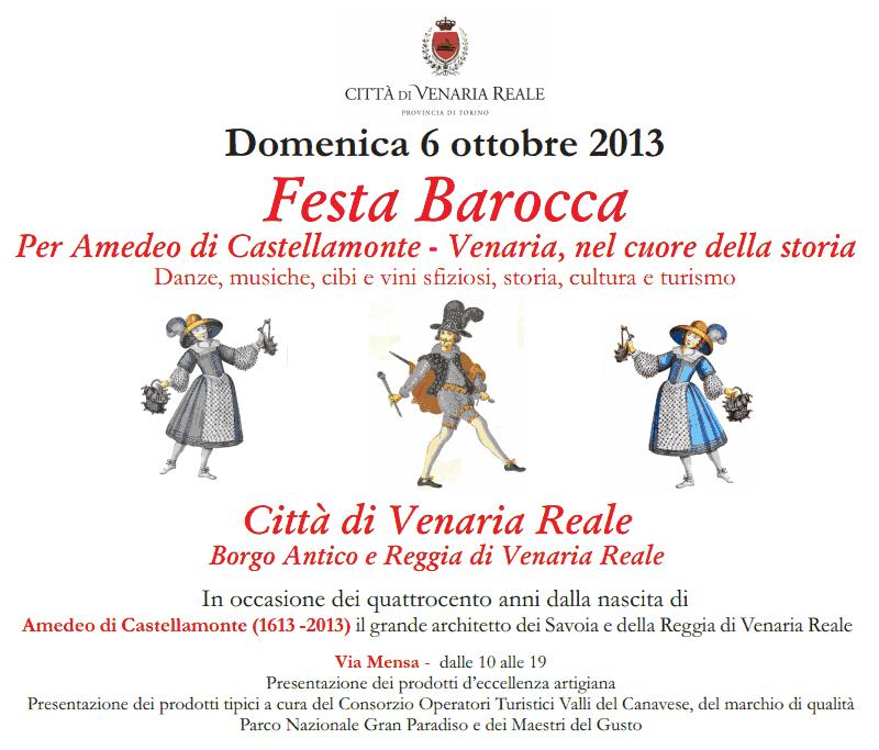 Domenica 6 ottobre, Festa Barocca a Venaria Reale