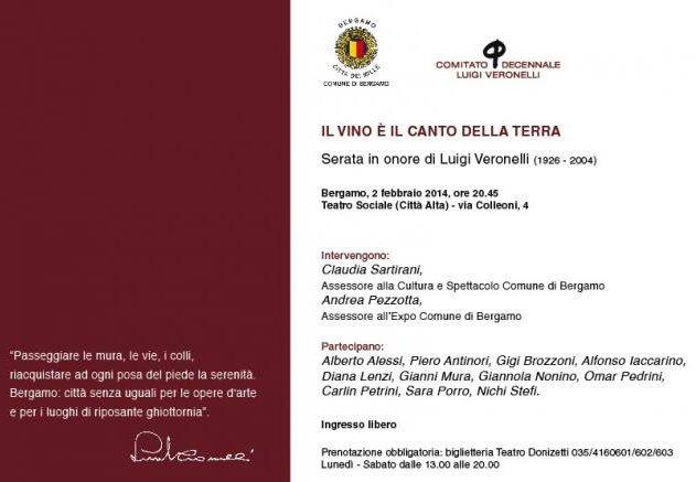 Bergamo: Serata in onore di Luigi Veronelli