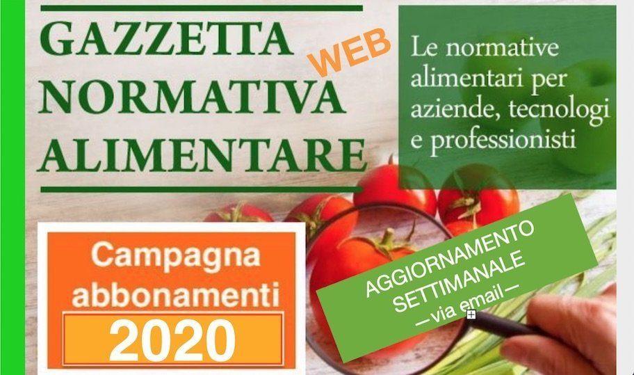 Gazzetta Normativa Alimentare Web – via email: Abbonamento 2020