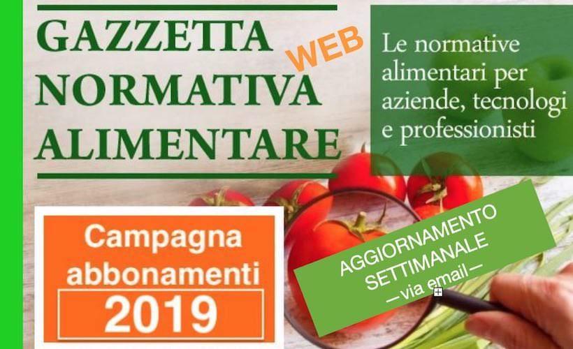 Gazzetta Normativa Alimentare Web: Abbonamento 2019