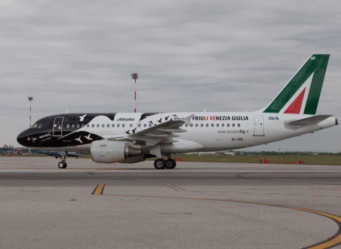 Alitalia Airbus A319: silhouette di colibrì in omaggio a unicità del Friuli Venezia Giulia