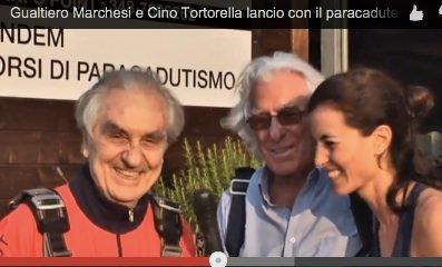Gualtiero Marchesi con Cino e Chiara Tortorella, Lancio Paracadute