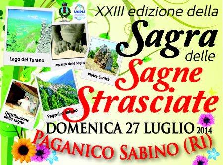 """Paganico Sabino (RI): Domenica 27 luglio 23esima edizione della """"Sagra delle sagne strasciate"""""""