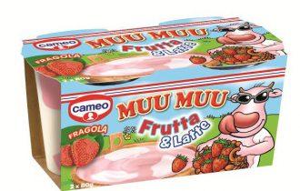 cameo presenta Muu Muu Frutta & Latte: un budino al gusto di pesca o fragola, con macchie al gusto vaniglia