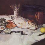 Manet - Natura morta con pesci e ostriche