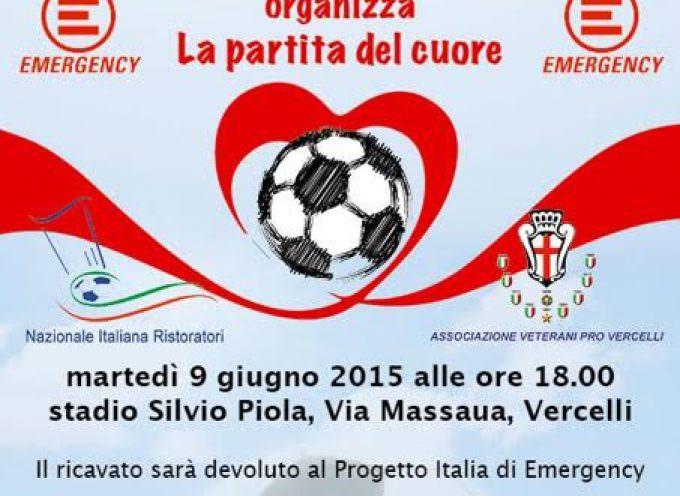 Vercelli, martedì 9 giugno: Appuntamento con la Partita del Cuore organizzata da Emergency