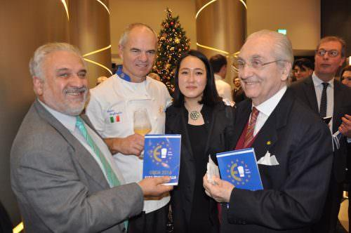 Giuseppe Danielli, Enrico Derflingher, Gina Park e Gualtiero Marchesi al Gallia Hotel di Milano