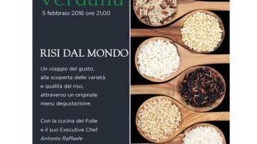 """Verdalia, Villa Convento (LE): Venerdì 5 febbraio cena-evento """"Risi dal mondo"""""""