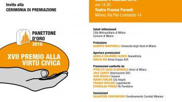 """Milano, sabato 6 febbraio: Premio alla Virtù Civica """"Panettone d'Oro"""""""