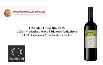 Concorus Mondial de Bruxelles: Aquilae Grillo Bio conquista la Gran Medaglia d'oro e il titolo di Vino Bianco Rivelazione