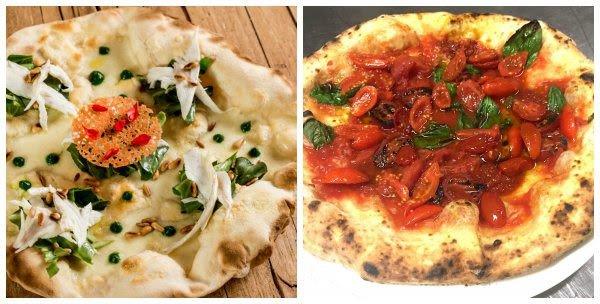 La pizza Stelle di seta di Lovatel, a sinistra, e quella ai pomodori dei fratelli Salvo, a destra