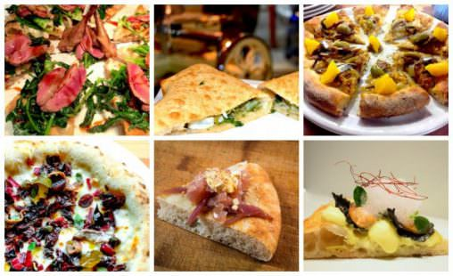 Sei nuove pizze 2017: dall'alto a sinistra, in senso orario, quelle di Padoan, Coccia, Ricci, Ravagnan, Pappalardo e Masi