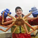 Alessio Taffarello gioca coi pesci di Alaska Seafood a Identità Golose