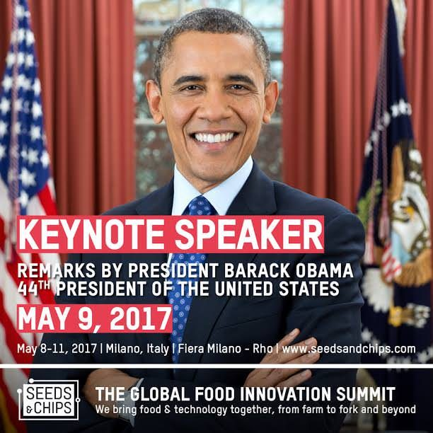 Barack Obama ospite d'onore a Seeds&Chips 2017 di Milano a maggio