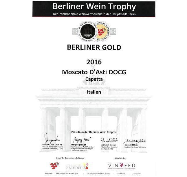 Moscato d'Asti DOCG Francesco Capetta 2016: Medaglia d'Oro al Berliner Wein Trophy 2017