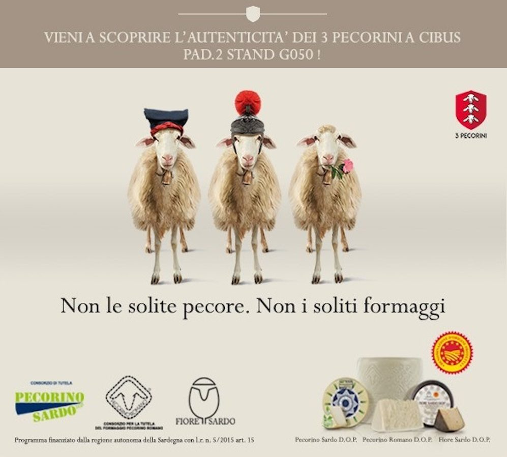 Pecorino Romano D.O.P. – Pecorino Sardo D.O.P – Fiore Sardo D.O.P insieme a Cibus 2018