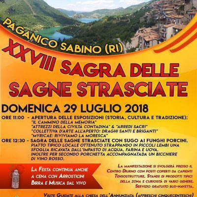Paganico Sabino in festa il 29 luglioper la sagra delle sagne strasciate