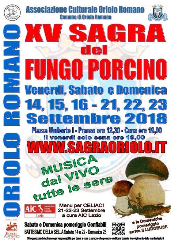 Oriolo Romano in festa dal 14 al 23 settembre per la Sagra del fungo porcino anima