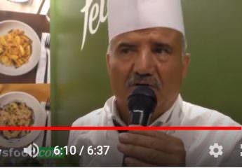 Peppe Zullo cucina la Pasta di legumi Felicia a Identità Golose 2019