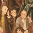 Neoumanesimo Milanese 1992/1994, dipinto ad olio – Particolare: Indro Montanelli, Gianfranco Miglio, Egidio Sterpa
