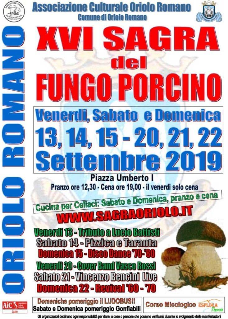 A Oriolo Romano (VT) è festa grande per il fungo porcino – 13/22 settembre