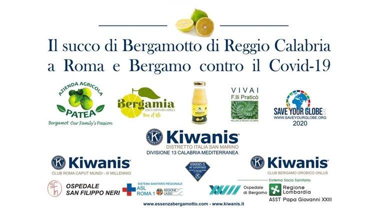 Il kiwanis dona il bergamotto di Reggio Calabria agli ospedali covid di Roma e Bergamo