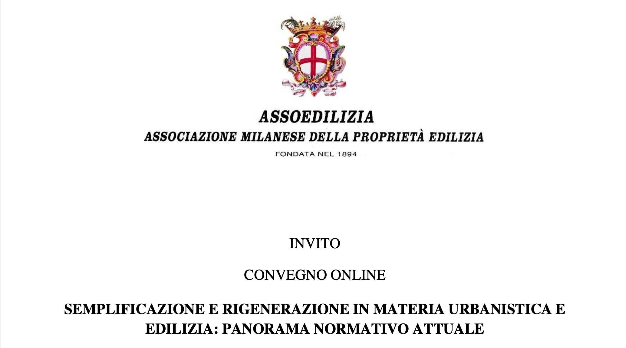 """WEBINAR ASSOEDILIZIA """"LE NOVITA' LEGISLATIVE IN MATERIA DI EDILIZIA E DI URBANISTICA"""""""
