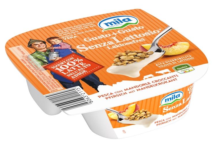 Yogurt Gusto+Gusto senza lattosio di MILA, arriva il gusto pesca con mandorle croccanti!