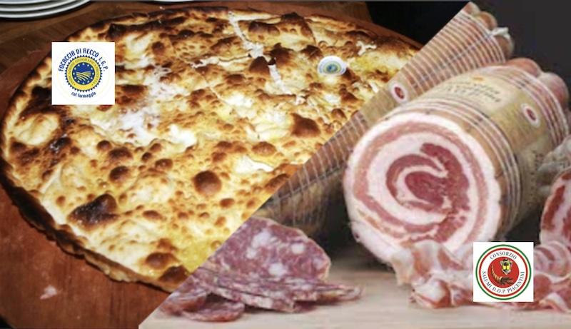 Sapori in Paradiso terzo incontro con la stampa, nel locale storico O' Vittorio, la Focaccia di Recco col formaggio IGP in abbinamento con i salumi piacentini DOP