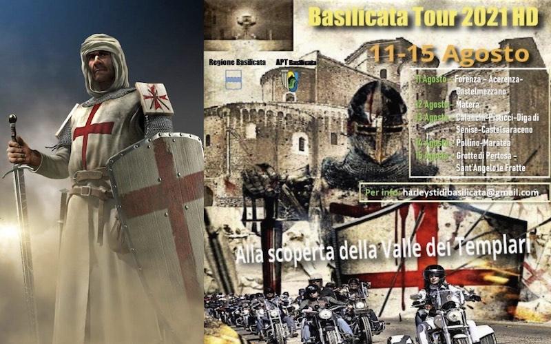 """I """"Riders""""  moderni cavalieri in sella a scintillanti Harley Davidson in tour in Basilicata nella Valle dei Templari"""