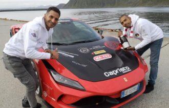 Ferrari Guinness World Record 2021: il pilota Fabio Barone brinda con lo Champagne Comte de Montaigne