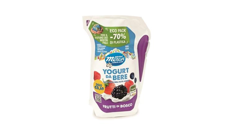 Yogurt da bere in eco pack di Latteria Merano con il 70% di plastica in meno!